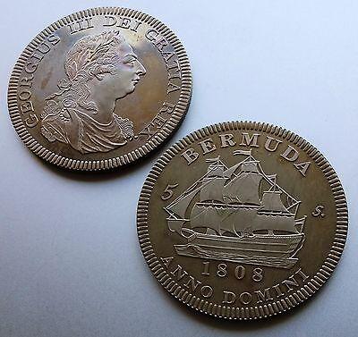 1808 Bermuda  Retro Pattern Proof Crown Nickel Silver George III  Coin