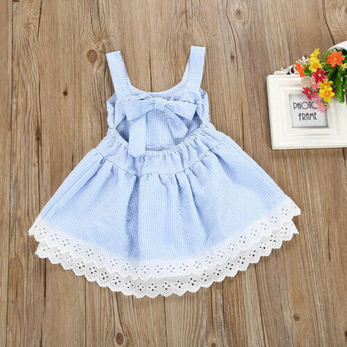 Summer Kids Baby Girl/'s Pageant Princess Sleeveless Stripe Lace Dress Clothes V8