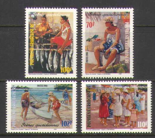 Polynésie Française 1998 poissons/bateau/village 4 V Set (n20598)