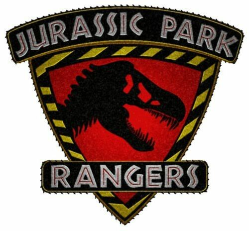 """Jurassic Park 4/"""" Rangers Shield Red T-Rex Embroidered Patch Great in Person!"""
