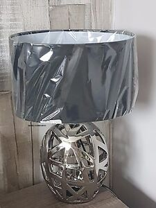 Salt Lamps Napier : GEOMETRIC CUT OUT CHROME SILVER BEDSIDE LOUNGE TABLE LAMP NEW eBay