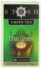 Stash Tea Green Chai Tea, 20 Count Tea Bags in Foil (Pack of 6) , New, Free Ship