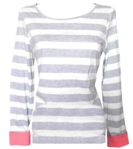 L88 36 38 40 42 44 46 48 50 grau ecru NEU FLG Shirt Langarmshirt Streifen Gr