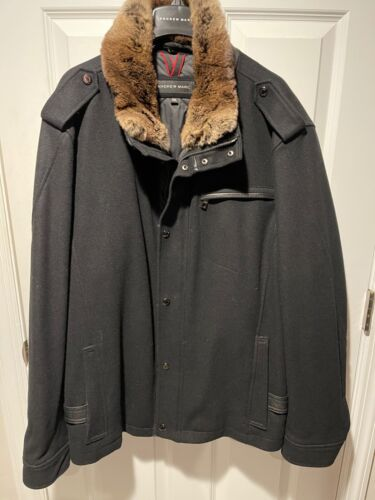Men's Andrew Marc Wool Jacket Black With Rabbit Fu