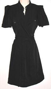 DVF Diane von Furstenberg Women's Black Short-Sleeve Stretch Wrap Dress Size 10