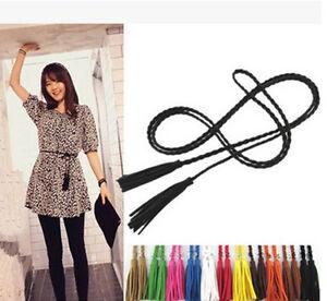 New-Ladies-Abrasive-Leather-Vintage-Thin-Weave-Twisted-Tassels-Rope-Belt