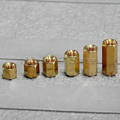 50Pcs Hexagonal Female PCB Board Nuts Brass Standoff Spacer M3 x 4/5/6/8/10/12mm