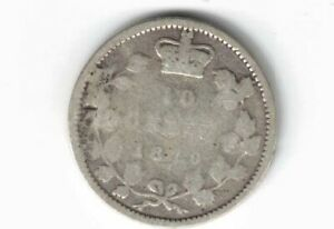CANADA-1870-WIDE-0-TEN-CENTS-DIME-QUEEN-VICTORIA-STERLING-SILVER-COIN-CANADIAN