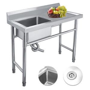 Mobile Con Lavello Cucina.Nuovo Mobile Cucina Con Lavello Acciaio Inox 39 4 19 7 36 2 Gocciolatoio Dx Ebay