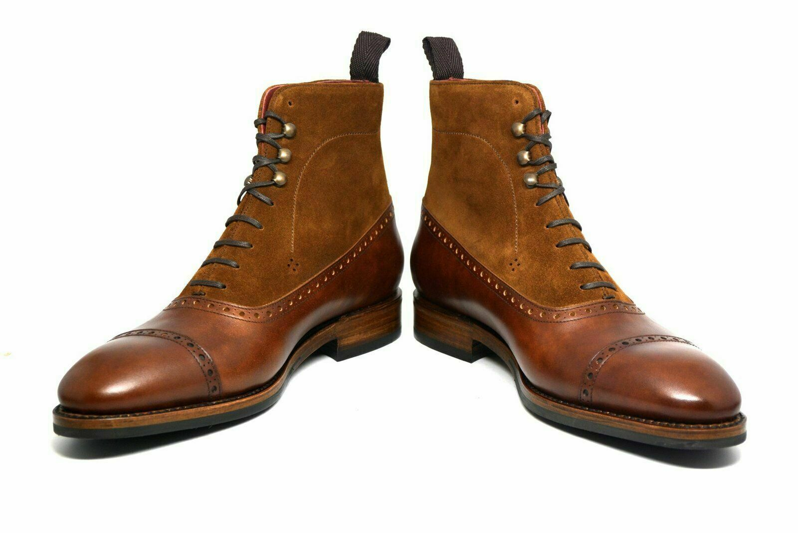Handmade Men Two Tone braun Rounded Cap Toe Suede & Leather Lace Up Ankle Stiefel