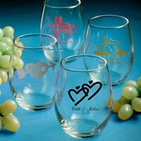 50 - Personalized Stemless Wine Glasses - Wedding Favors - Free Us Shipping