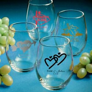 Image Is Loading 50 Personalized Stemless Wine Glasses Wedding Favors Free
