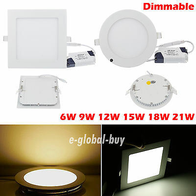 Dimmable LED Recessed Downlight Ceiling Panel Light Lamp Bulb 6W 9W 12W 15W 21W