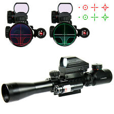 Tactical Illuminated 3-9X40YG Rifle Scope Red Laser /& Holographic Dot Sight Hunt