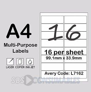 Pk 10 Stampiton Labels 16 Per A4 Sheet L7162*//J7162* Laser//Inkjet Compatible