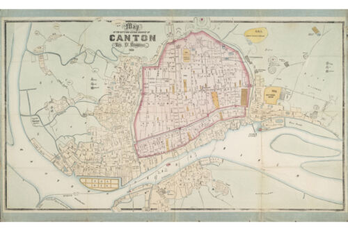 Canton China; Antique Map 1860; Fine Quality Restored Print