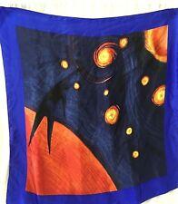 "Vintage 100% SILK SCARF Handmade 30"" X 30"" Blue Stars Planets Sun Astronomy"