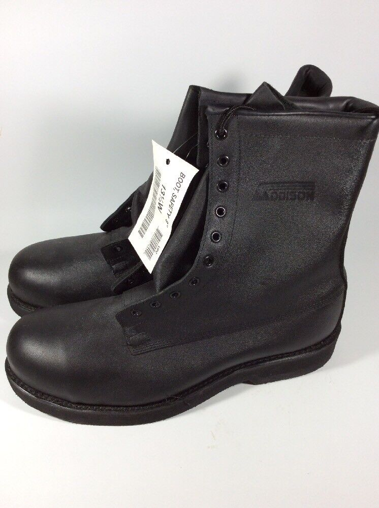 NEW Addison shoes Company Leather Steel Toe Safety Boots Men's Size 13.5 W
