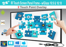 """LCD/LED 2 Touch IR Overlay Touch Screen Frame Panel 24"""" - w/ Glass 16:9 & 16:10"""