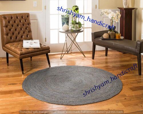 Handmade Round Jute Natural Rug Round Jute Thick Weave Rug Area Rug Floor Carpet