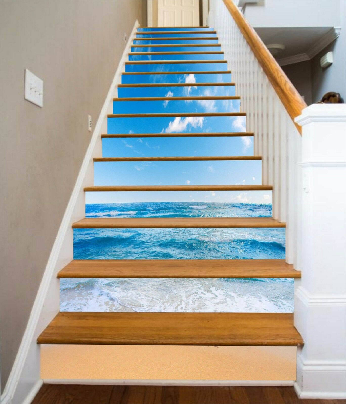 3D bleu plage Stair Risers Decoration Photo Mural Vinyl Decal Wallpaper AU