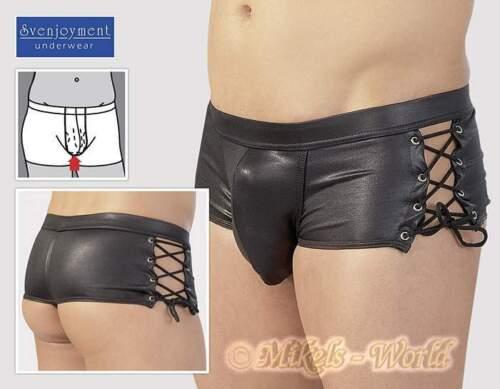 Pants Hipster in Wetlook Optik mit seitlicher Schnürung schwarz