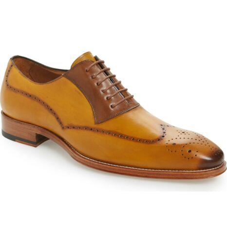 Mezlan Spain Handmade Cognac Gold Spectator Calfskin Wingtip Shoes Kelvin 6657