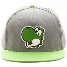 NINTENDO YOSHI SNAPBACK HAT CAP SUPER MARIO BROS. WORLD ADJUSTABLE GREY GREEN