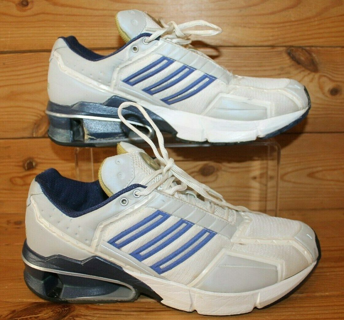 VINTAGE ADIDAS  TRAINERS UK 9 ORIGINAL 2003 Torsion blanco and azul Superb