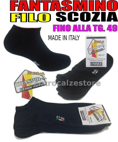 6 PAIA FANTASMINI UOMO DONNA COTONE FILO SCOZIA NERO BIANCO BLU MADE IN ITALY