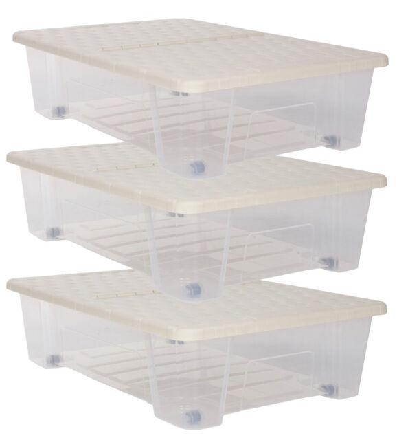 Unterbettkommode 3x Allzweckbox Rollbox Aufbewahrungsbox Unterbettbox BOX Rattan