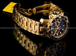 NEW-Invicta-Pro-Diver-Scuba-18K-Gold-Plated-Black-Dial-Chrono-S-S-Bracelet-Watch