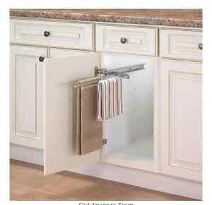 kitchen pull out 3 arm towel bar cabinet organizer inside drying rack under sink 691044792190 ebay. Black Bedroom Furniture Sets. Home Design Ideas