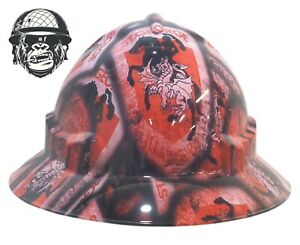 Custom Hydrographic Wide Brim Safety Hard Hats Flame THE GAMBLER WIDE