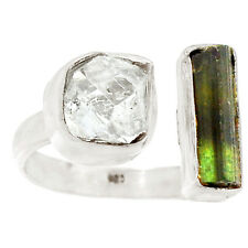 Herkimer Diamond & Green Tourmaline Rough 925 Silver Ring s.8 RR36873