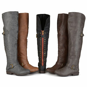 Brinley-Co-Womens-Wide-Calf-Over-the-knee-Inside-Pocket-Buckle-Studded-Boots-New