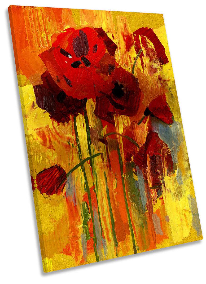 rot Poppy Grunge Flower Bild CANVAS Wand Kunst Portrait Drucken