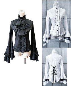 Camicia-Donna-Manica-Lunga-Vintage-Woman-Shirt-Blouse-Gothic-Long-541002