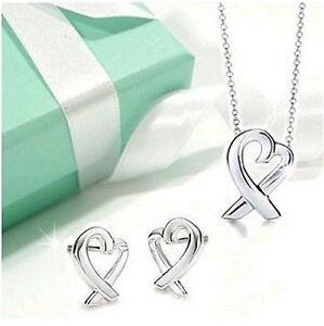 Hot-Silver-Ladies-Set-Jewellery-Soild-Silver-S925-Heart-Necklace-Earrings