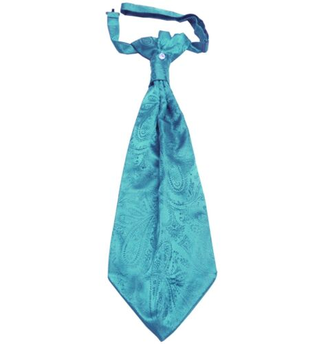 New 100/% Polyester Men/'s Paisley Ascot Cravat Only Wedding Prom Turquoise Blue