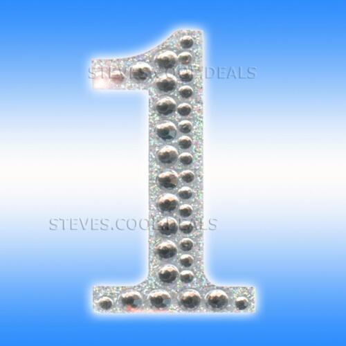 Pegatinas Números DE Edad Cumpleaños 5cm gran brillo de diamantes boda fecha puerta Bling