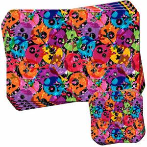 Medley-Coloured-Skulls-amp-Bones-Set-of-4-Placemats-and-Coasters