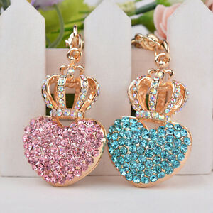crown-heart-rhinestone-keychain-crystal-bag-charm-key-ring-Women-Kids-Gifts-TI