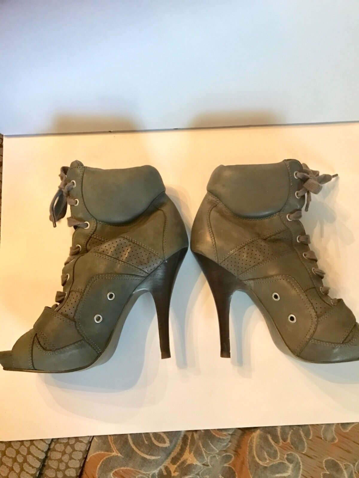 ASH Fame Peeptoe Lace Up Ankle Bootie Size 8