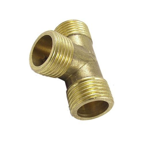 T Shape Water Fuel Pipe Male Tee Adapter Connector 1//2 Gold BSG
