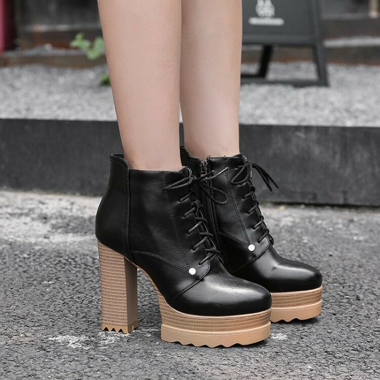 Womens Lace up Ankle Boots High Block Heel Platform shoes Round Toe Chunky Boots