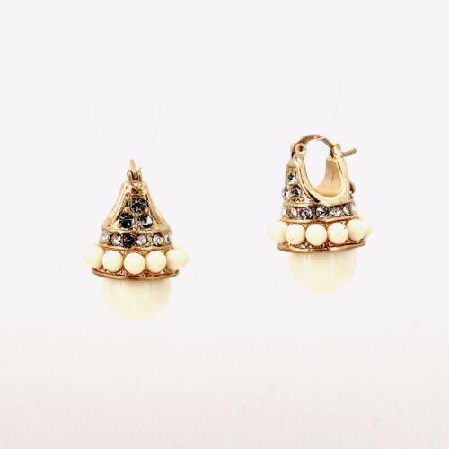 Boucles d`Oreilles Dormeuse Doré Mini Perle Blanc Retro Vintage QD1