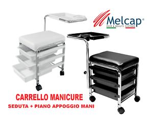 Carrello-Manicure-estetista-con-seduta-vassoio-cassetti-porta-attrezzi-Melcap
