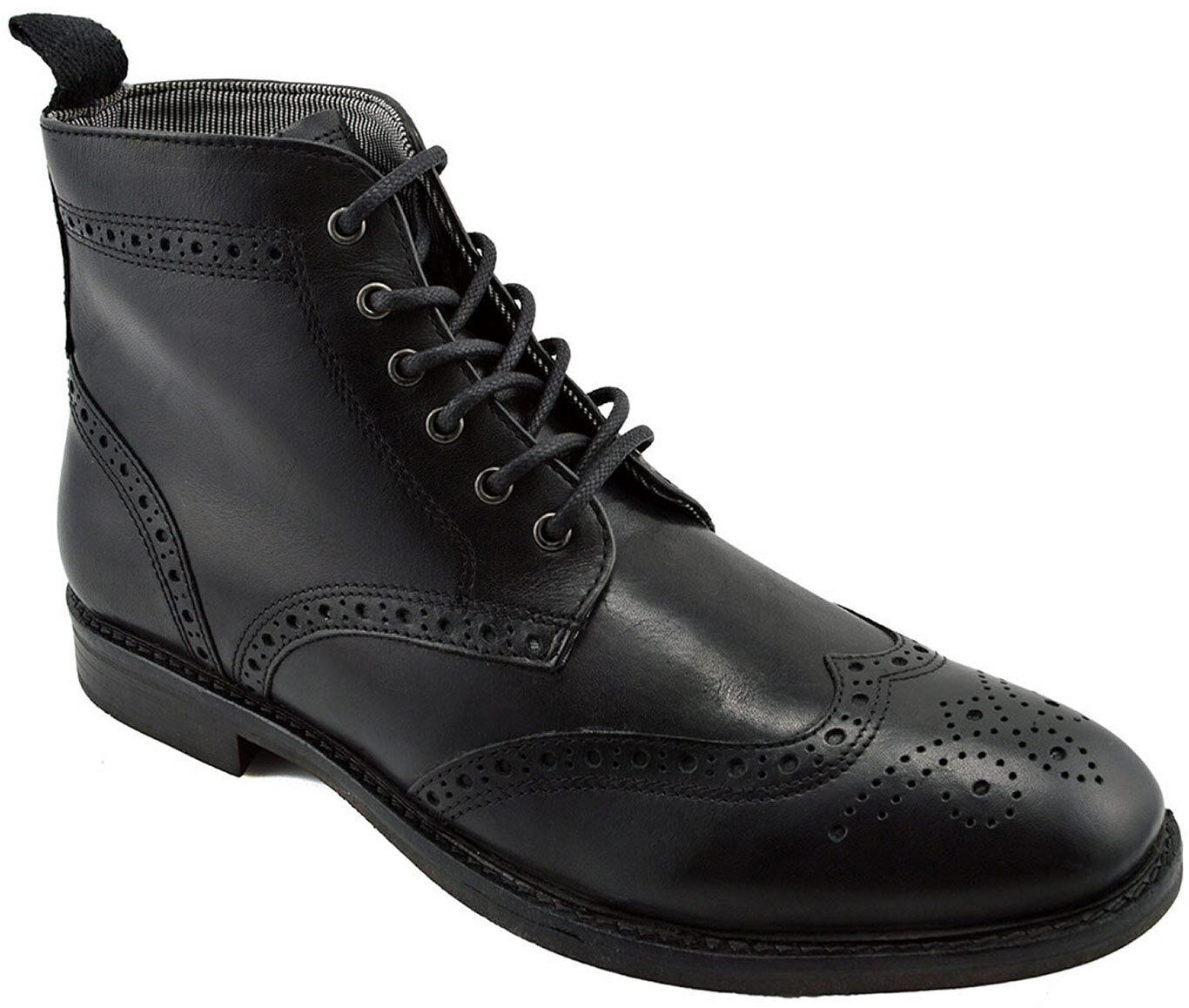 215 RED Tape Black Leather GLAVEN Brogue Ankle Boots Men shoes NEW COLLECTION