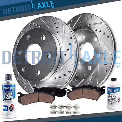 Escalade EXT Rear  Drilled Brake Rotors+Ceramic Pads For Cadillac Escalade ESV